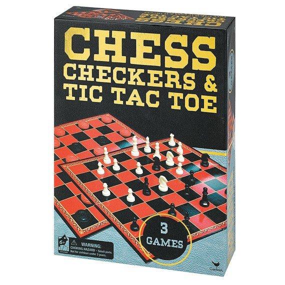 Набор из трех настольных игр Spin Master Шахматы, шашки и крестики-нолики (SM98377/6033146) фото 1