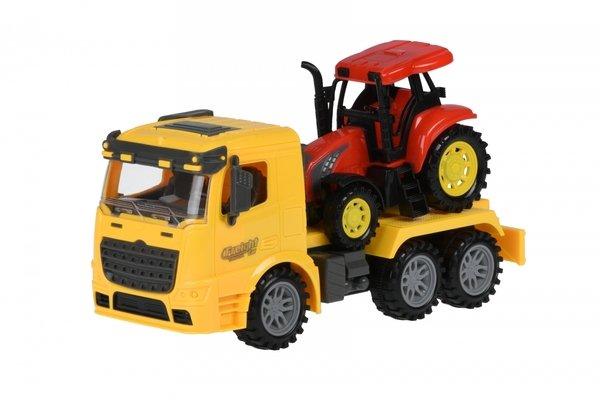 Купить Машинка инерционная Same Toy Truck Тягач с трактором желтый (98-613Ut-1)