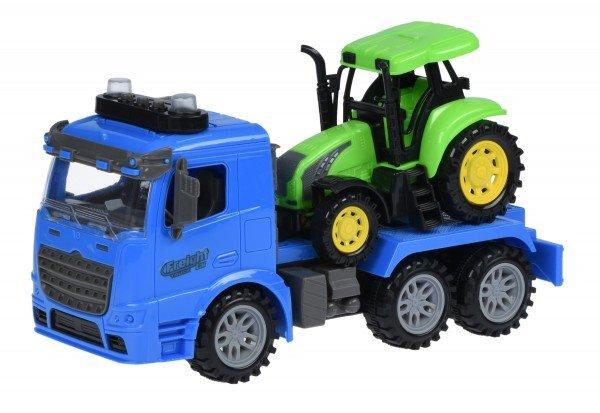 Купить Машинка инерционная Same Toy Truck Тягач синий с трактором со светом и звуком 98-613AUt-2