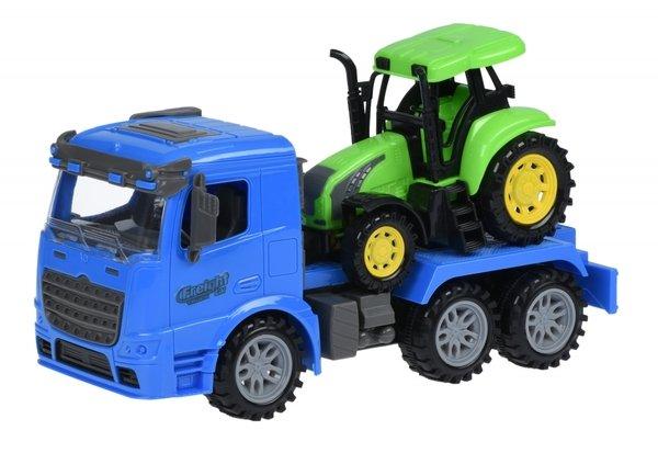 Купить Машинка инерционная Same Toy Truck Тягач с трактором синий (98-613Ut-2)