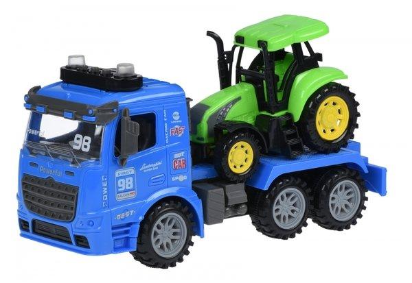 Купить Машинка инерционная Same Toy Truck Тягач синий с трактором со светом и звуком 98-615AUt-2