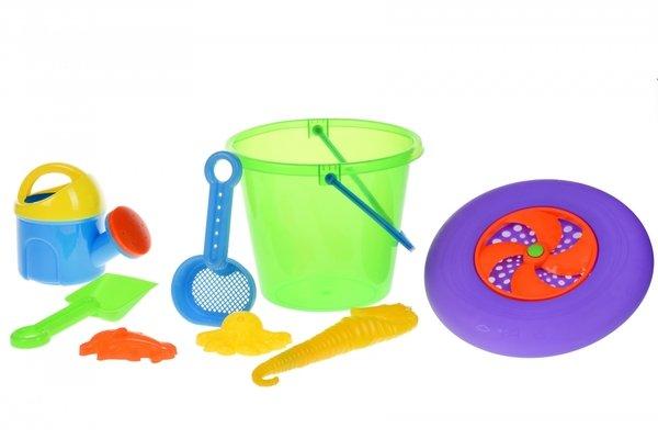 Купить Набор для игры с песком Same Toy с Летающей тарелкой (зеленое ведро) 8 шт HY-1205WUt-2