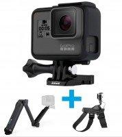 Экшн-камера GoPro HERO5 Black + монопод 3-way + крепление на собаку (CHDHX-502-F)