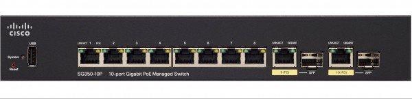 Купить Коммутаторы управляемые, КоммутаторCiscoSBSG350-10MP10-portGigabitPOEManagedSwitch (SG350-10MP-K9-EU)