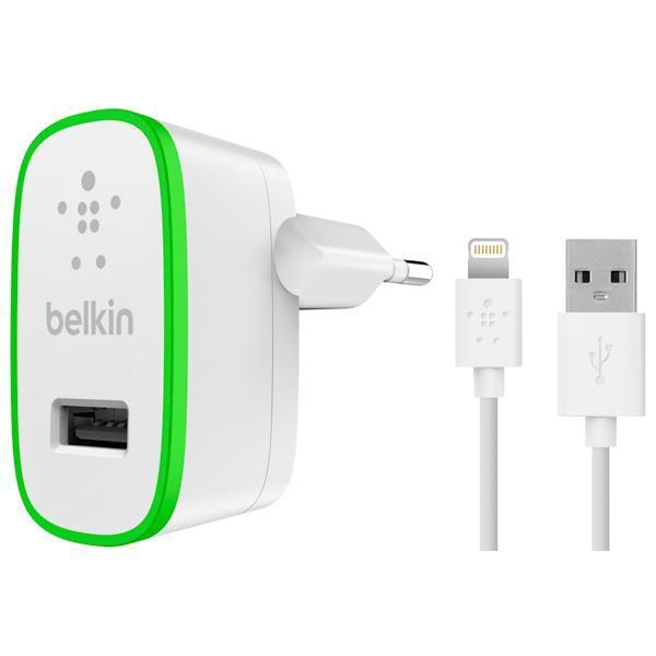 Сетевое зарядное устройство Belkin USB Home Charger (2.4Amp) c кабелем Lightening to USB-A, 1.2m, Белый фото 1