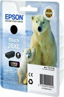 Картридж струйный EPSON 26XL XP600/605/700 black pigment, 500 стр new (C13T26214012)