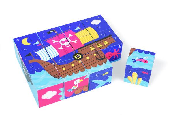 Кубики картонные Janod Пираты (J02984)  - купить со скидкой