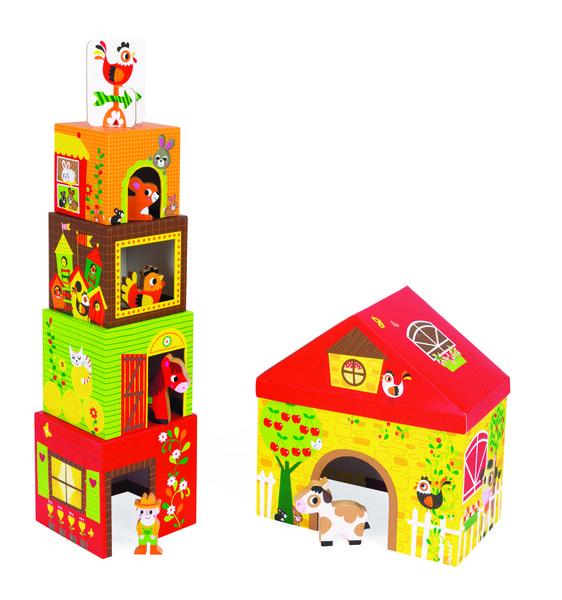 Купить Кубики картонные Janod Ферма (J02801)