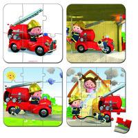 Набор из 4 пазлов Janod Лео и его пожарная машина (J02882)