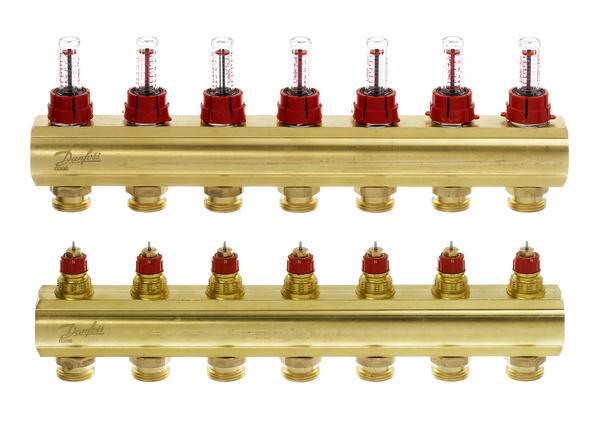 Купить Коллектор теплого пола Danfoss FHF-7F c ротаметрами (088U0527)