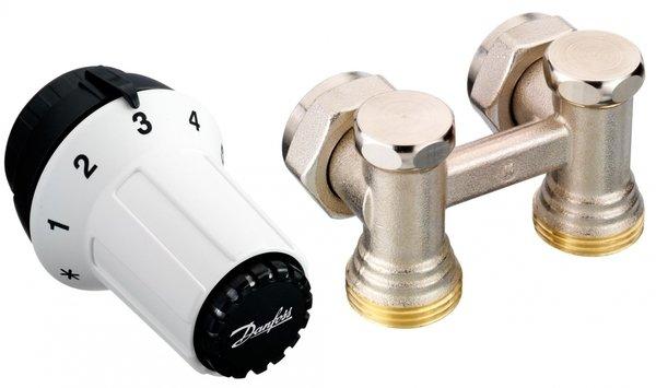 Купить Терморегуляторы, программаторы, Комплект радиаторных терморегуляторов Danfoss RAS-C + RLV-KS 1/2 , угловой (013G5278)