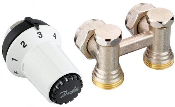 Купить Комплект радиаторных терморегуляторов Danfoss RAS-CK + RLV-KS 1/2 , угловой (013G5276)