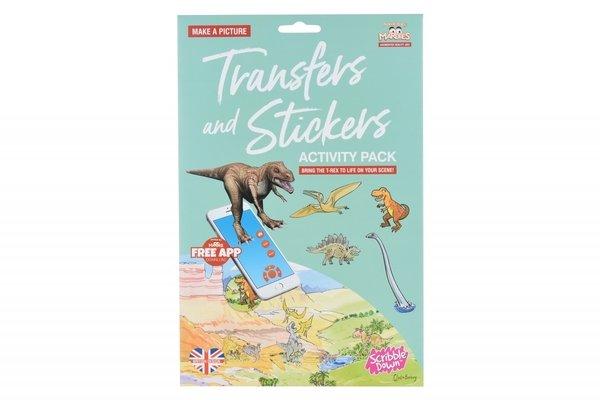 Купить Набор переводных наклеек Scribble Down с онлайн приложением Динозавры (SD22)