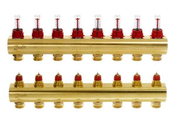Купить Коллектор теплого пола Danfoss FHF-8F c ротаметрами (088U0528)