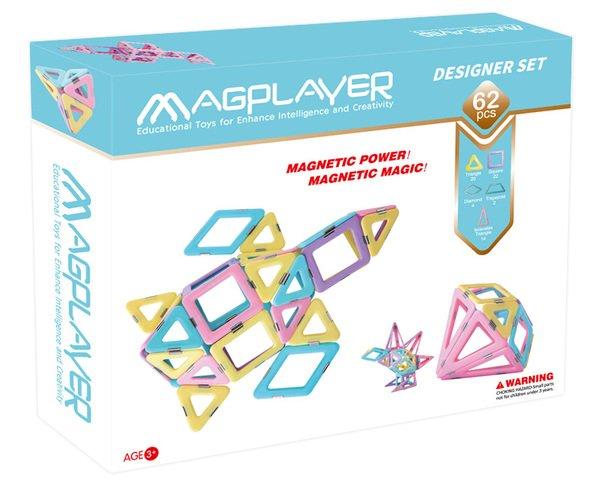Конструктор Magplayer магнитный набор 62 эл. (MPH2-62)  - купить со скидкой