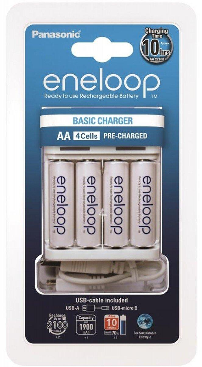 Зарядний пристрій Panasonic Basic USB Charger+eneloop 4AA 1900 mAh (K-KJ61MCC40USB) фото