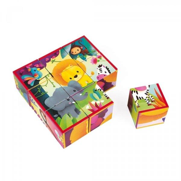 Купить Кубики Janod Животные из джунглей 9 эл. (J02732)