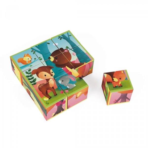 Купить Кубики Janod Лесные животные 9 эл. (J02731)