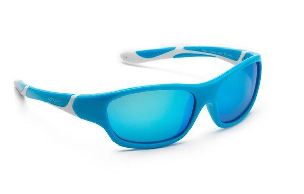 Купить Детские солнцезащитные очки Koolsun Sport бирюзово-белые (Размер 6+) (KS-SPBLSH006)