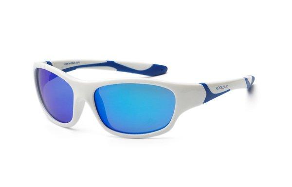 Купить Детские солнцезащитные очки Koolsun Sport бело-голубые (Размер 3+) (KS-SPWHSH003)
