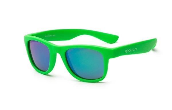 KOOLSUN / Детские солнцезащитные очки Koolsun Wawe неоново-зеленые (Размер 1+) (KS-WANG001)