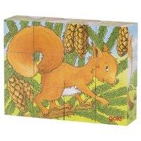 Кубики деревянные goki Животные в лесу ( 57710G)
