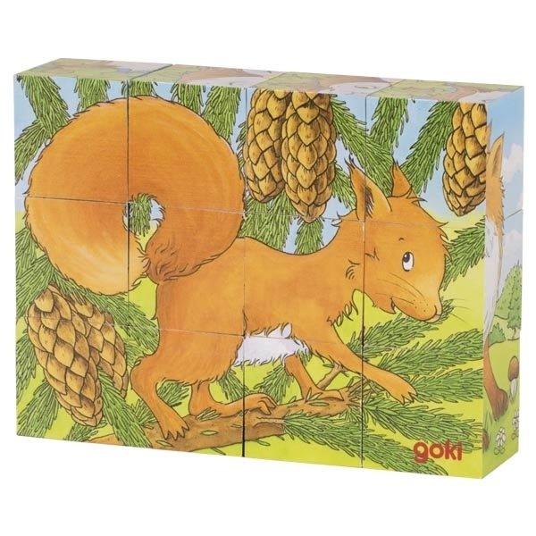 Купить Кубики деревянные goki Животные в лесу ( 57710G)
