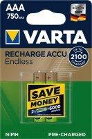 Аккумулятор VARTA RECHARGEABLE ACCU ENDLESS AAA 750 mAh BLI 2 NI-MH (56673101402)