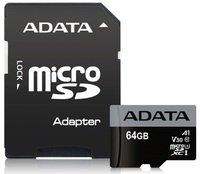 Карта памяти Adata microSDXC 64GB Class 10 UHS-I U3 A1 + SD-адаптер