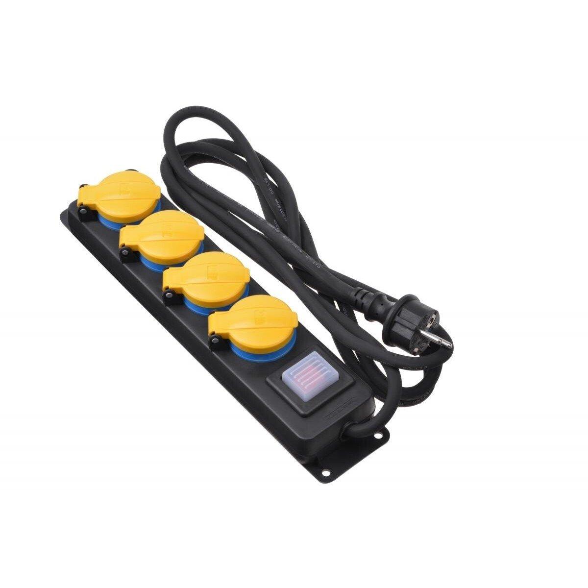 Сетевой фильтр 2Е 4xSchuko ІР44 с защитой, 3G1.5*3м, черный фото 1