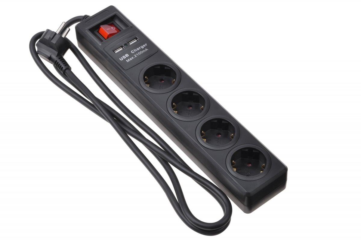 Сетевой фильтр 2Е 4xSchuko с защитой, 2хUSB 2.1А, 3G1.5*1.8м, черный фото 1