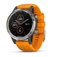 Смарт-часы GARMIN Fenix 5 Plus Sapphire Titanium with Solar Flare Orange Band (010-01988-05)