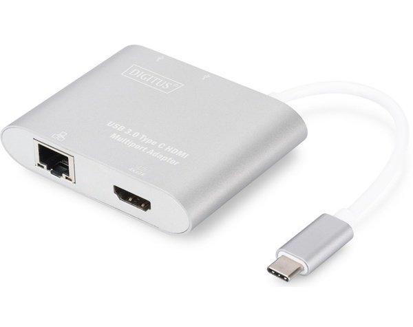 Переходники, Адаптер Digitus USB 3.0 Type-C Multiport adapter 4K HDMI, 2xUSB 3.0 (DA-70847)  - купить со скидкой