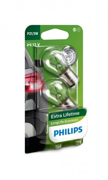 Купить Автолампы, Лампа накаливания Philips P21/5W LongLife EcoVision (12499LLECOB2), PHILIPS Automotive