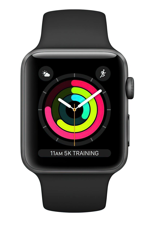 Смарт-часы Apple Watch Series 3 GPS 38mm Space Grey Aluminium Case with Black Sport Band (MTF02FS/A) фото
