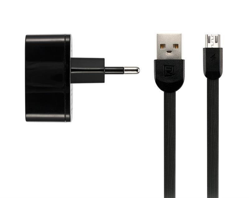 Мережевий зарядний пристрій Remax RP-U215 Dual USB 2.4A+microUSB Cable Black фото1