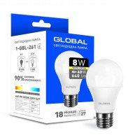 Светодиодная лампа GLOBAL A60 8W мягкий свет 220V E27 AL (1-GBL-261)