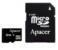 Карта памяти Apacer microSDHC 32GB Class 4 R5MB/s + SD-адаптер