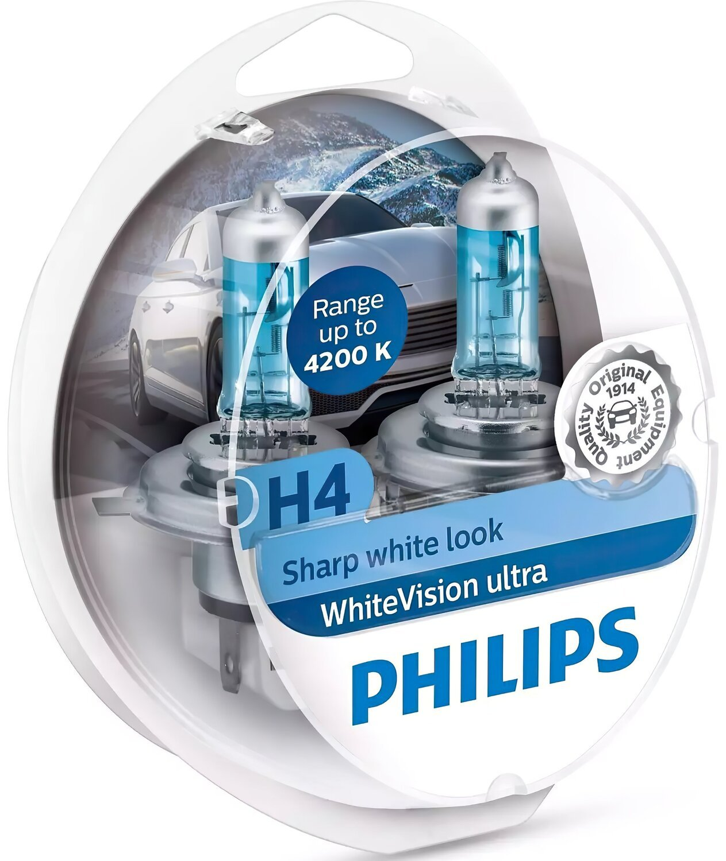 Лампа галогенная Philips H4 WhiteVision Ultra, 4200K, 2шт/блистер фото 1