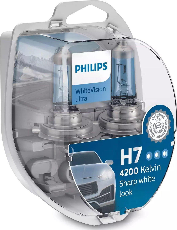 Лампа галогенная Philips H7 WhiteVision Ultra, 4200K, 2шт/блистер фото 1