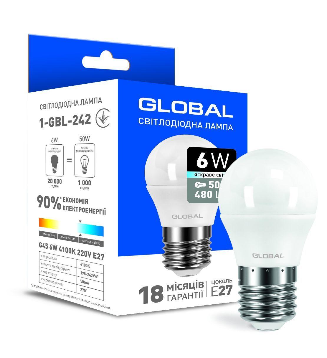 Светодиодная лампа GLOBAL G45 F 5W яркий свет 220V E27 AP (1-GBL-242) фото 1