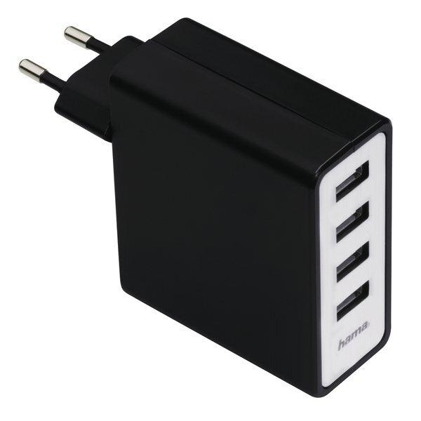 Мережевий зарядний пристрій Hama Auto-Detect 4-Port 5A Black фото