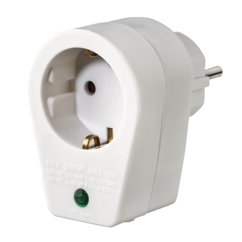 Сетевой адаптер НАМА с функцией защиты от скачков напряжения, белый фото 1