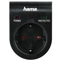 Мережевий адаптер НАМА з функцією захисту від стрибків напруги, чорний