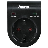 Сетевой адаптер НАМА с функцией защиты от скачков напряжения, черный