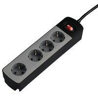 """Подовжувач НАМА"""" TIDY-Line"""" на 4 розетки, з вимикачем, 1.5м, чорний/сірий"""