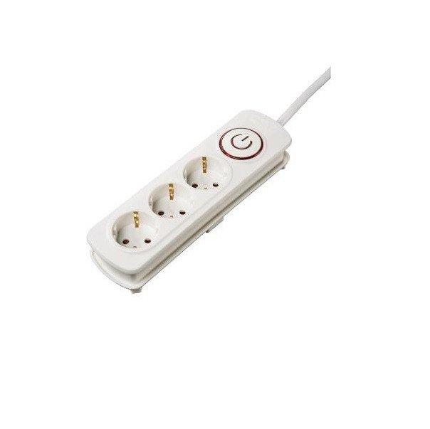 Удлинитель НАМА на 3 розетки, с выключателем, 1,5 м, белый фото