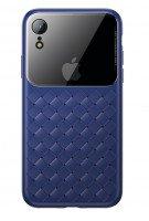 Чехол Baseus для iPhone XR Glass & Weaving Blue