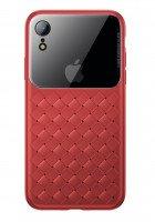 Чехол Baseus для iPhone XR Glass & Weaving Red