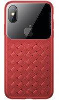 Чехол Baseus для iPhone XS Max Glass & Weaving Red